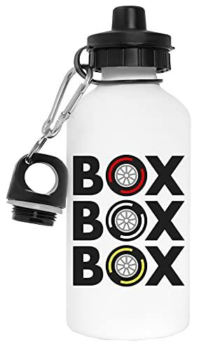 Box Box Box Tyre Compound Botella de Agua Blanco Aluminio Reutilizable Water Bottle White Aluminium Reusable