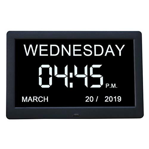Cweu-home Digitale wekker, Demenz-daghorloge, 8'' IPS digitale kalender dag klok niet afgebreviated dag & maand voor slechtzienden blinden en ouderen Alzheimer