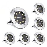 NEXVIN Solar Bodenleuchte Aussen, 6 Stück 8 LEDS Solarleuchten Außen, IP65 Wasserdicht Gartenleuchten Solarlampen Solarlicht Garten Licht für Rasen/Gehweg/Patio/Garden Weihnachtsdeko (Warmweiß)