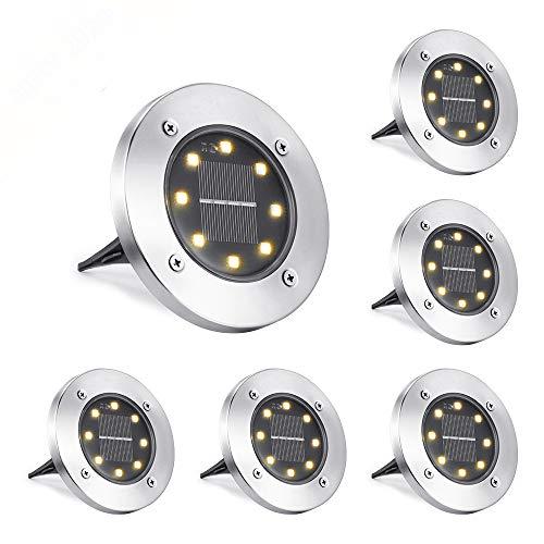 NEXVIN Solar Bodenleuchte Aussen, 6 Stück 8 LEDS Solarleuchten Außen, IP65 Wasserdicht Gartenleuchten Solarlampen Solarlicht Garten Licht für Rasen/Gehweg/Patio/Garden (Warmweiß)