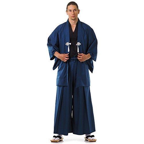 Cosplaymania Japan Samurai Kimono Set 3 Teile Kendo Gi + Hakama + Haori Baumwolle M L XL (Blau & Schwarz)