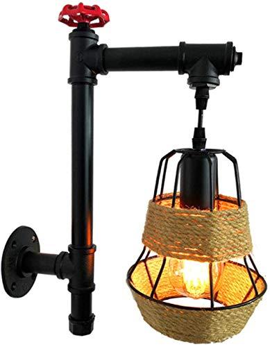 GIOAMH Lámpara colgante de cuerda de cáñamo vintage, lámpara colgante de pared de tubo de agua de tubo de hierro de metal retro, lámpara de decoración de barra de cocina con enchufe E27 Enchufe