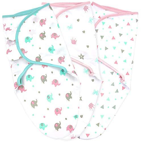 Baby Wickeltuch für Neugeborene, Größe S/M, 0-3 Monate, 3 Stück, Rosa/Grün