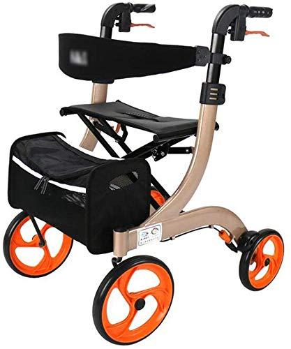 TEHWDE Einkaufswagen auf Rädern, zusammenklappbar Treppensteigen Utility Grocery Cart Rollstuhl Home Einkaufswagen mit Sitz Tragbare Gehhilfe Old Man Crutches Geschenk kann 100 kg tragen