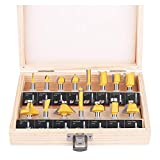 KOWOOD Router Bits Set of 15 Pieces 1/4 Inch Woodwork Tools for Beginners