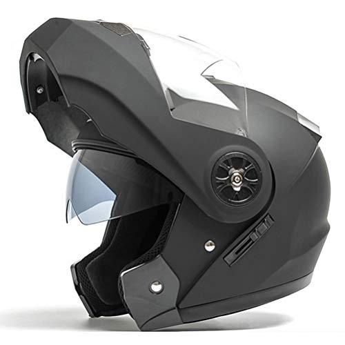 Desconocido Casco integral de motocicleta de doble visera Modular Flip Up Sun Shield Cascos de moto Cascos modulares para hombre de motocicleta ciclomotor