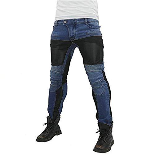 Pantalones Vaqueros Para Montar En Moto Para Hombre, Pantalones De Motocicleta Elásticos Y Transpirables Con 4 Almohadillas Protectoras Desmontables, Pantalones De Motocicleta Anti Caída (Azul,M)