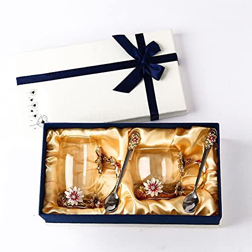 HLONGG Día de San Valentín, Día de la Madre, Copa de té de la Flor del Día Memorial, Copa de Cristal de Cristal de Vidrio de Esmalte Hecho a Mano (1 Taza Alta, 1 Taza Corta, 2 cucharadas),Oro