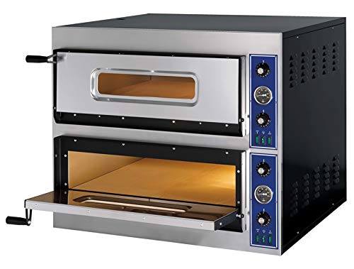 Pizzaofen 2 Backkammern Edelstahl Elektro Ofen Steinbackofen Pizzabackofen Backofen Pizza Flammkuchenofen 900x785x750 mm