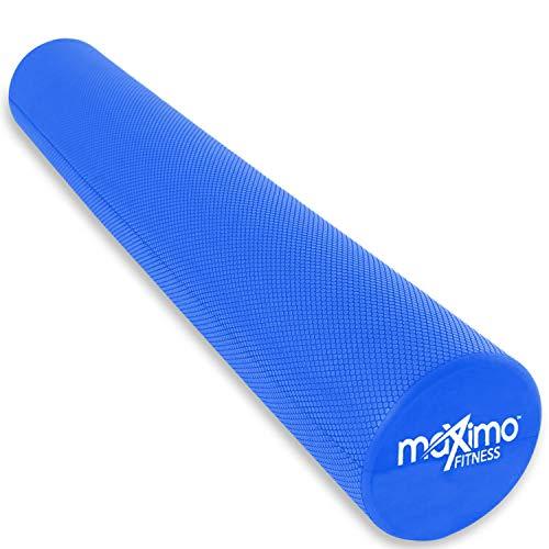 Maximo Fitness – Rodillo de Espuma Largo – 6 x 36 pulgadas (15 cm x 90 cm) – Tipo Trigger Point – Perfecta Herramienta de Auto Masaje para Casa, Gimnasia, Pilates, Yoga – Instrucciones Incluidas. (Azul - 90 cm) (Blue)