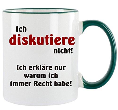 Crealuxe Ich diskutiere Nicht - ich erkläre nur Warum ich Immer Recht Habe - Kaffeetasse mit Motiv, Bedruckte Tasse mit Sprüchen oder Bildern