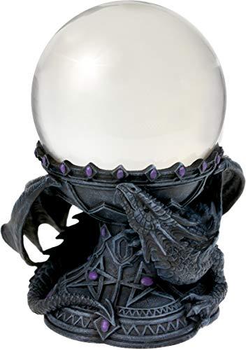 Nemesis Now Crystal Ball Holder Anne Stokes 18cm Dragon Beauty-Soporte para Bolas de Cristal (18 cm), Resina, Gris, Talla única