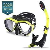 Integityスノーケルセット2019年最新アップグレード耐衝撃パノラマ強化ガラスと革新的な水 - 空気分離チャンバードライトップシュノーケルでのダイビングマスク。アンチフォグ 子供または大人用に調節が可能なシリコンストラップとの自由な呼吸アンチリークスクーバマスク人間工学デザイン 潜水眼鏡 フィット感 耐圧力 飛散防止 初心者でも 男女兼用 水漏れを防止排水管旅行海離島