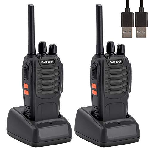 Walkies Talkies Profesionales 16 Canales,Walkie Talkie Recargables 1500mAh con Cargador USB,Walkie Talkie Radiocomunicación con el Auricular Incorporado Antorcha de LED (2 PCS)
