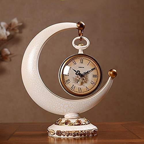 DKEE Blanco Reloj Creativo Retro Europeo Del Reloj De Escritorio Reloj De Escritorio Sentado Reloj Despertador Sala De Estar Decoración Del Arte Del Reloj De Péndulo De Los Hogares 320 * 380 (mm) Relo