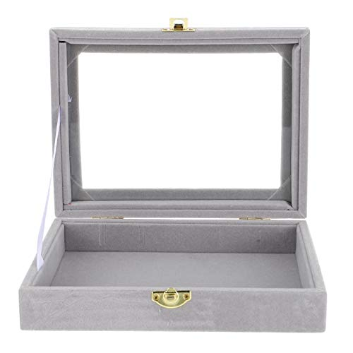 Homoyoyo Vitrina de Cristal para Exhibición de Joyas Caja de Almacenamiento Vitrina de Viaje Organizador con Cierre de Metal para Coleccionables Pulseras para El Hogar Collares Gris