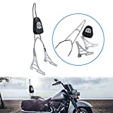 OXMART Motorcycle Chrome Rear Passenger Seat Detachable Backrest Sissy Bar W/Cushion Pad for Harley Davidson XL 883 1200 2004-Up