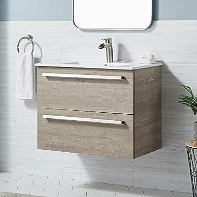 """ENGELCH BATHROOM VANITY BC033 Modern 29"""" Grey 2 Drawers Floating Wall Mounted Bathroom Vanity, Storage Cabinet with White Ceramic Vessel Basin Top Vanity Sink Combo"""