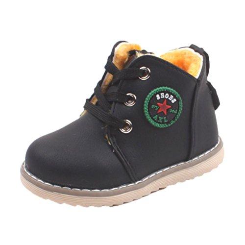 Hirolan Baby Lederschuhe Lammfell Babyschuhe Winterschuhe Unisex Jungen Mädchen Sport Schuhe Baby Mode Kleinkind Kinder Turnschuhe Anti-Rutsch (24, Schwarz)