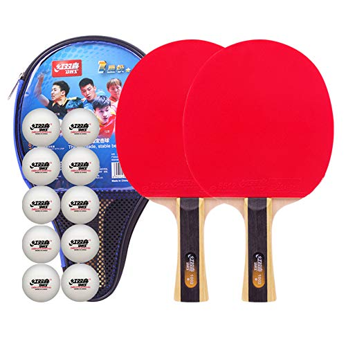 Best Deals! SSHHI Ping Pong Racket,Comfortable Handle,5 Layers of Wood,Household Table Tennis Paddle...