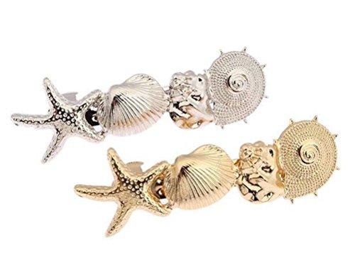 cuhair(TM) 2pcs women girl New Oceanic Style Gold Metal Shells sea star Hair Clips Barrettes claw pin Hair Accessories (2pcs)