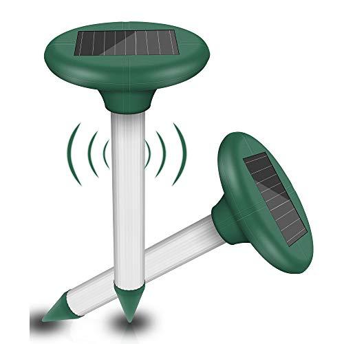 Solar Maulwurfabwehr,Schädlingsbekämpfung,Wasserdicht Solar Maulwurfbekämpfung,Wühlmausschreck,Mole Repellent,Ultraschall Tiervertreiber,Solar Maulwurfschreck für Draußen Rasen Gartenhöfe (2 Stück)