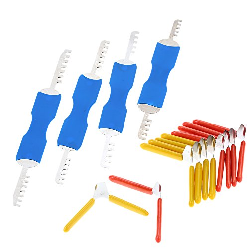 KKmoon Professional Mini Blau Visible Schlosser Trainings-Trainer-Cutaway Messing Padlock Lockpicking Practice Set Kit