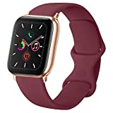 ATUP Cinturino Compatibile con per Apple Watch Cinturini 38mm 40mm, Cinturino in Silicone Morbido Compatibile con per iWatch Series 4, Series 3, Series 2, Series 1 (02 Wine Red, 38mm/40mm-S/M)