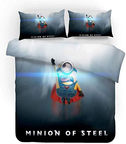GDGM Minions Bettbezug,Bettwaren-Sets Für Kinder - Bettbezug Und Kissenbezug,Mikrofaser,3D Digital Print,kinderbettwäsche Minions Family (D,220x240cm)
