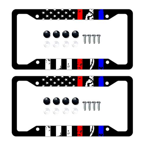 DZGlobal Police&Firefighter&EMT Flag License Plate Frames, Alumina Car Licence Plate Decor Covers with 4 Holes