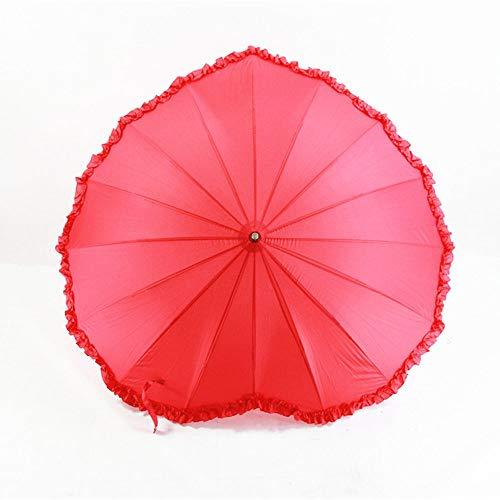 ZAIHW Herzförmiger Regenschirm Kreativer Herz-Liebes-Regenschirm-Braut-Regenschirm-Hochzeitsgeschenk-Regenschirm-Gebrauch für Valentinsgruß, Hochzeit, Verpflichtung und Foto-Requisiten [Energieklasse