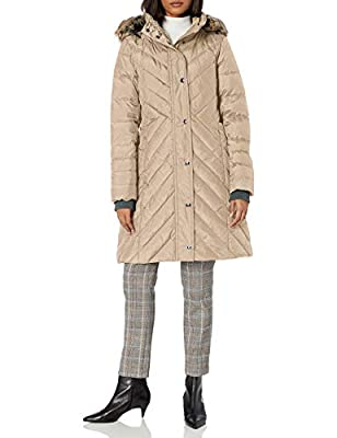 LONDON FOG Women's Chevron Down Quilting with Removable Hood, Pearl, Large