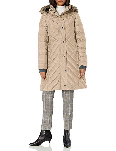 LONDON FOG Women's Chevron Down Quilting with Removable Hood Down Coat,...