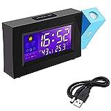 Uniquk Reloj Despertador con Proyector Reloj Despertador Digital para Cabecera Reloj Despertador de Moda Reloj Despertador Digital LED con EstacióN de Tiempo