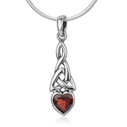 925 Sterling Silver Triquetra Celtic Knot Red Garnet Heart Endless Love Pendant Necklace 18'