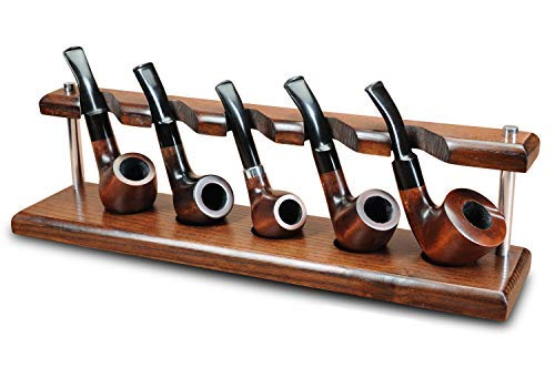 KAFpipeWorkshop Pipe Stand Tobacco Pipe Rack for 5 Smoking Pipes Wooden Pipe Holder from ASHTree Handmade