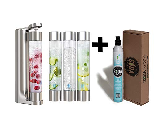 FIZZpod Soda Maker With CO2 Cylinder- Fizzy Drink Machine with 3 PET Bottles, 3 Caps, 1 Carbonator Cap and Manual - Make Homemade Sparkle Water, Juice, Coffee, Tea and Cocktail Drinks with Fruit (Silver)