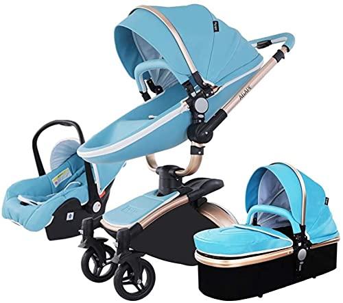 Cochecito de bebé de huevo, función de rotación de 360 ° carro de bebé, cuero de PU Cochecito de altura de alto paisaje con ángulo de altura de asiento ajustable, absorción de choque de cuatro rueda