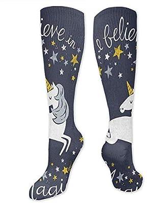 Calcetines de compresión unisex, calcetines deportivos largos para hombre y mujer, diseño de unicornio, calcetines deportivos de tubo largo, talla única de 50 cm