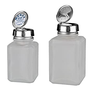 Menda MDA-4444 4oz Pure Touch and 6oz One Touch Square Frosted Glass Bottles Kit with Stainless Steel Closure Clear