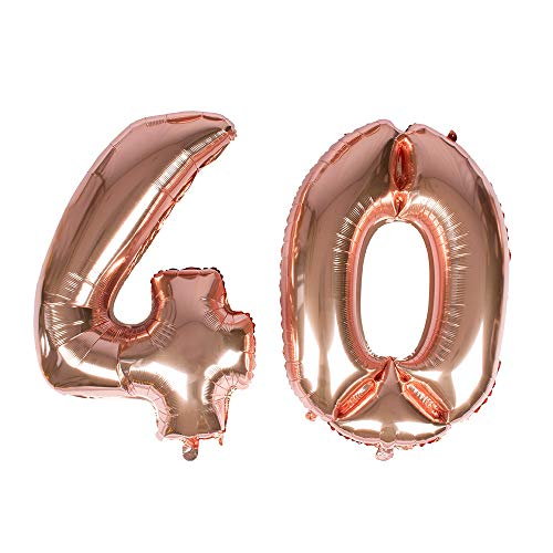 Gustawarm Ballon à hélium en Feuille de Mylar avec Chiffres en Aluminium doré Rose 101,6 cm Number 40