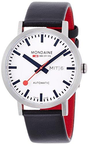 Mondaine SBB Classic Automatic Day Date 40mm A132.30359.16SBB Reloj de pulsera Automático Hombre correa de Cuero Negro