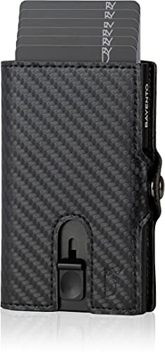 BAYENTO® Aventus Wallet – Premium Leder Geldbörse handgemacht für Herren und Damen Portemonnaie Aluminium Kartenhalter mit Münzfach und Platz für 9 Karten mit RFID NFC Schutz Farbe (Carbon)