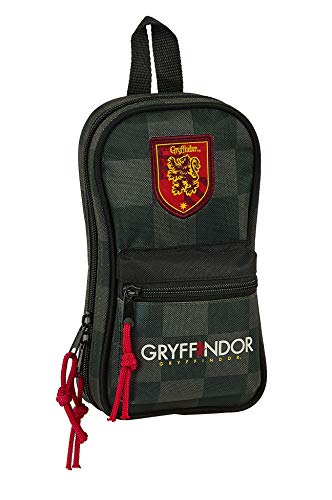 Safta - Plumier Mochila con 4 Estuches y Útiles de Harry Potter, 120x50x230mm, Multicolor (HP Negro/Gris/Granate)