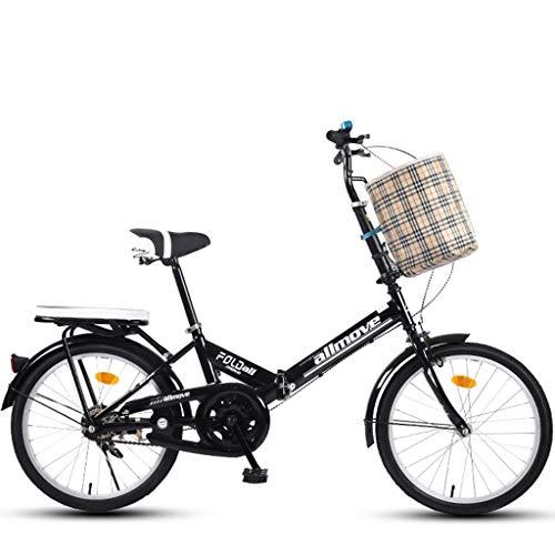 ASYKFJ Bicicleta plegable portátil plegable de 20 pulgadas para adultos al aire libre, suspensión de estudiantes, bicicleta de montaña, parque de viaje, bicicleta de ocio al aire libre, color negro