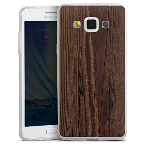DeinDesign Custodia sottilissima Compatibile con Samsung Galaxy A5 (2015) Custodia per Cellulare di Silicone Trasparente Cover Semplice Aspetto Legno Legno Noce Tree