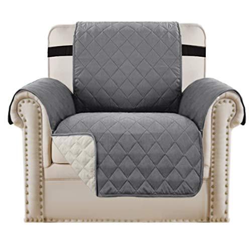 1 Sitzer Bezug Stuhl Schonbezug rutschfeste Sofaüberzug Möbelschutz, Baumwollähnliches Material, 5 cm Dicke Riemen, Perfekt für Kinder, Hunde, Katzen, Haustiere (Stuhl/Einsitzer Grau/Beige)