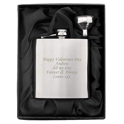 Personalised 6oz Hip Flask with Funnel in Presentation Box. Ideal Birthday / Wedding Gift.