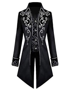 Crubelon Men s Steampunk Vintage Tailcoat Jacket Gothic Victorian Frock Coat Uniform Halloween Costume  Black 3XL