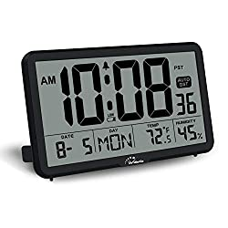 WallarGe Digital Wall Clock, Autoset, Desk Clock with Temperature, Humidity and Date, Battery Operated, Digital Clock Large Display, 8 Time Zone, Auto DST. (Black)